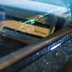 2020 Rivian R1S Interior shot through the passenger window looking at dash