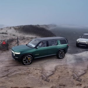 2020 Rivian R1S and R1T Parked together