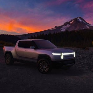 2020 Rivian R1T Parked with daytime running lights at dusk