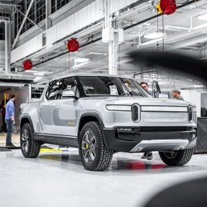 2020 Rivian R1T Parked at assembly line in factory
