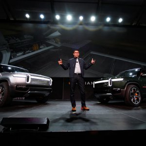 2020 Rivian R1S And R1T being announced on stage