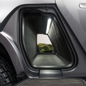 A view in to Rivian R1T Gear Tunnel
