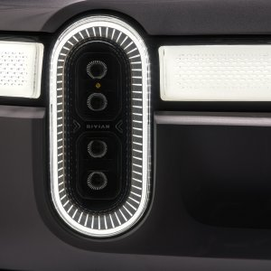 2020 Rivian R1T Close up shot of the healights with the daytime running lights