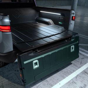 2020 Rivian R1T Truck Bed And Tailgate Open