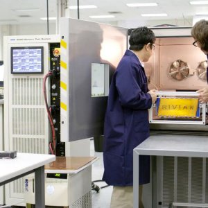 Rivian Battery Lab testing battery pack in different temperatures