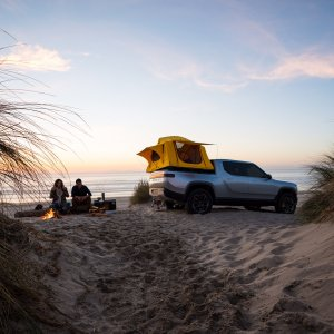 2020 Rivian R1T Tailgate Camping on beach area with sand
